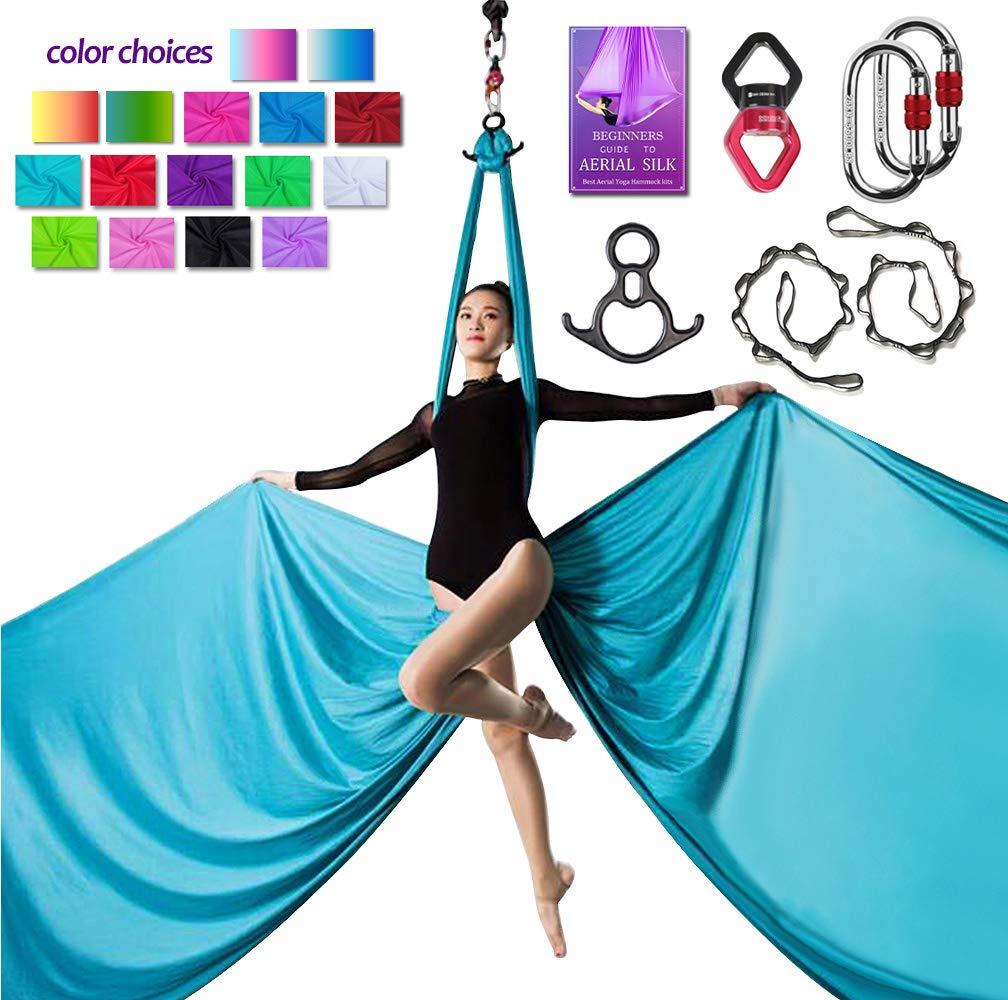 Aerial Silks Deluxe Equipment Set for Aerial Yoga, Aerial Yoga Hammock, Aerial Acrobatic,Circus Arts, Aerial Dance(L:10m W:2.8m (Sky Blue)