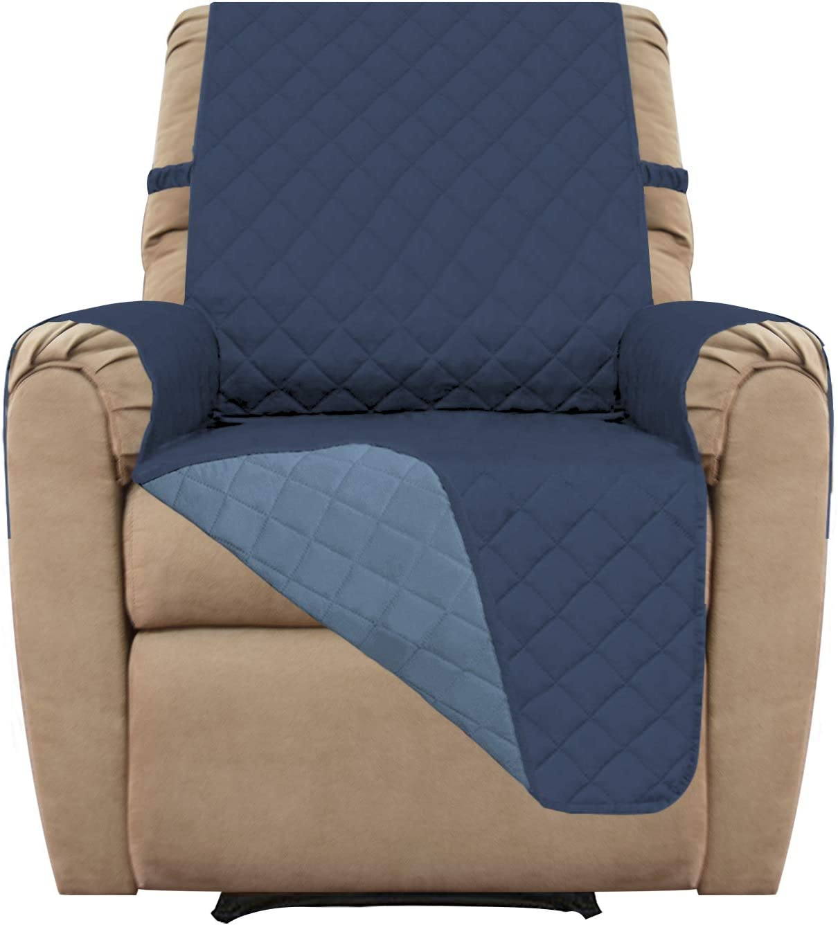 Easy-Going Recliner Cover Sofa Slipcover Reversible Sofa Cover Furniture Protector Couch Cover Water Resistant Elastic Straps Pets Kids Children Dog Cat (Recliner, Dark Blue/Light Blue)