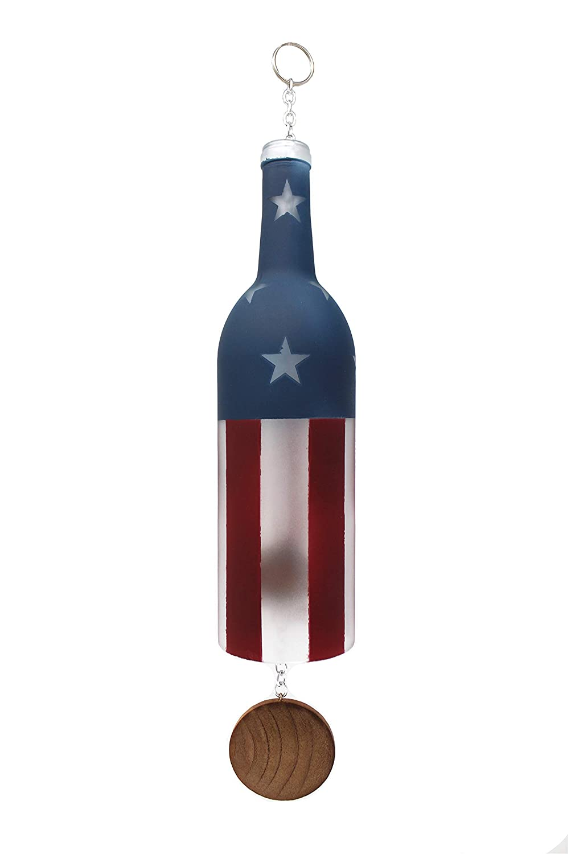 Flag Wine Bottle Wind Chime Home Decor US Veteran Gift