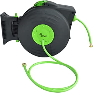 Yestar Plastic Garden Water Hose Reel with Retractable 83.4 Feet PVC Hoses & Brass Nozzles, Lightweight Hand Carried or Wall Mounted