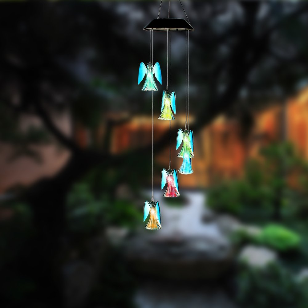 Ylyycc Color Changing LED Solar Wind Chimes path LED Changing Light Color waterproof angel wind chime for dinner party/garden/corridor decoration