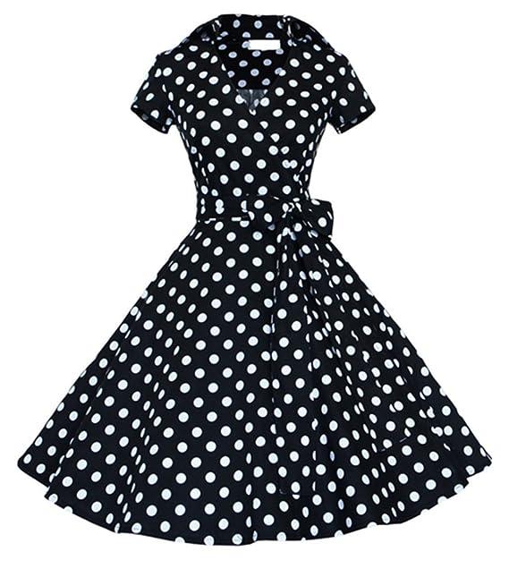 50s Vestidos Mangas Cortas Vintage Retro Rockabilly Vestido de Fiesta Noche Cortos con Polka Dots para mujer: Amazon.es: Ropa y accesorios