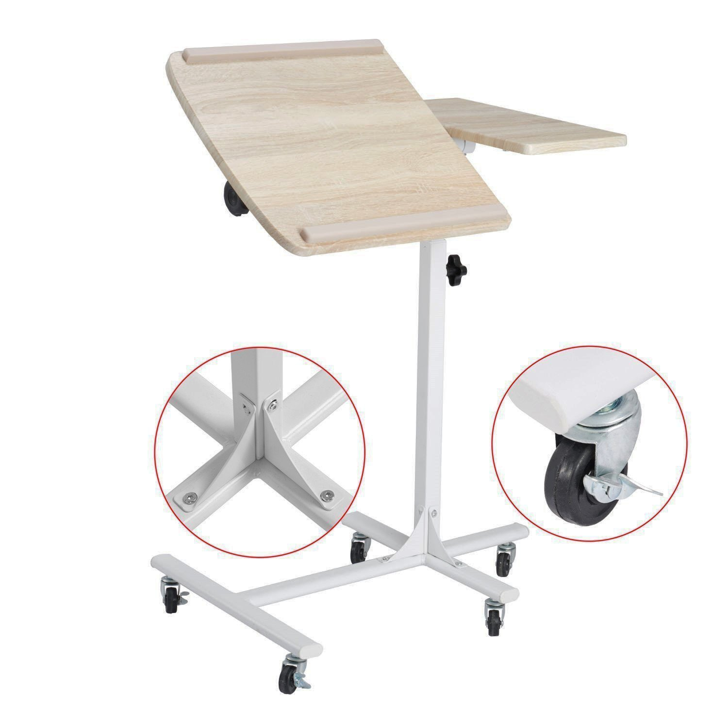 Laptop Table Sofa Bedside Table Overbed Table 5 Adjustable Height Space Saving Movable Sturdy Notebook Computer Stand Desk with Wheels