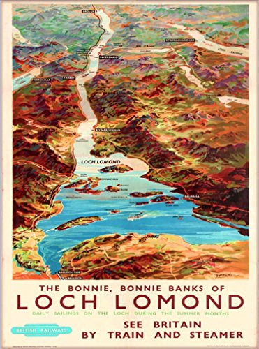 A SLICE IN TIME Bonnie, Bonnie Banks of Loch Lomond Scotland Scottish United Kingdom Great Britain British Railways Vintage Travel Advertisement Art Poster Print. 10 x 13.5 inches ()