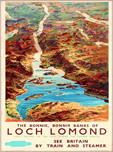 (A SLICE IN TIME Bonnie, Bonnie Banks of Loch Lomond Scotland Scottish United Kingdom Great Britain British Railways Vintage Travel Advertisement Art Poster Print. 10 x 13.5 inches)