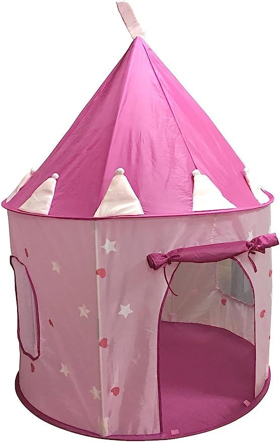 SueSport - Casa de campaña con diseño de castillo de princesas para jugar color rosa