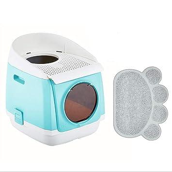 QIQI Tocador para Gatos Cesto para Mascotas Gato Caja De Arena para Gatos Inodoro con Pala De Basura 54 * 42 * 49 Cm (Color : Azul): Amazon.es: Hogar