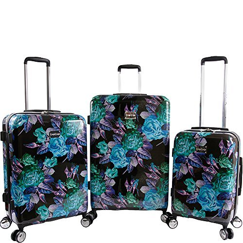 3 Piece Set Suitcase with Spinner Wheels, Black/Purple (Bebe Rosette)
