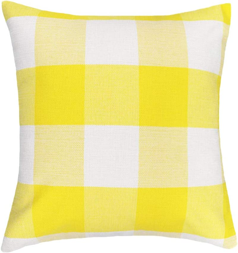 4TH Emotion 20 x 20 Inch Yellow White Buffalo Check Plaids Throw Pillow Case Cushion Cover Holiday Decor Cotton Linen for Sofa