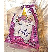 BlueVStudio | Personalized Unicorn with Flowers Reversible Sequin Backpack | Sequin Drawstring Backpack | Unicorn Backpack