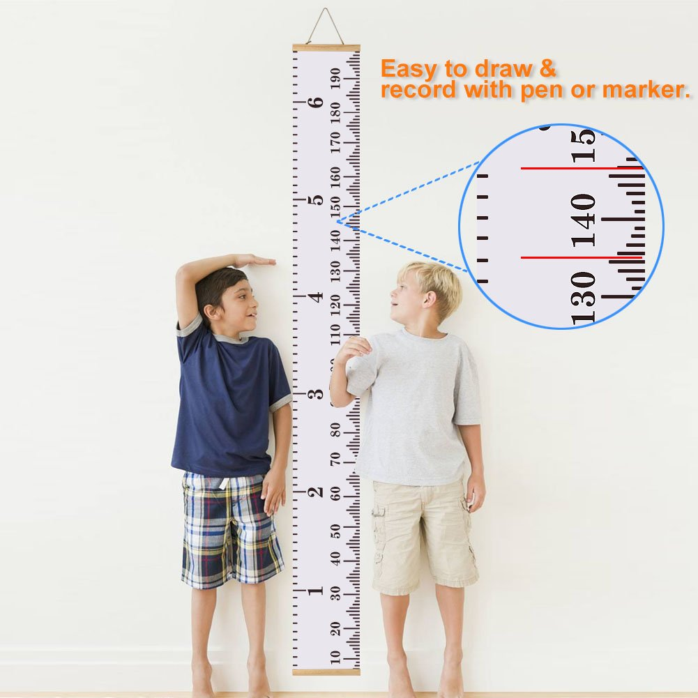 Amazon baby height growth chart ruler kinbon kids roll up amazon baby height growth chart ruler kinbon kids roll up canvas height chart removable wall hanging measurement chart wall decor with wood frame for nvjuhfo Images