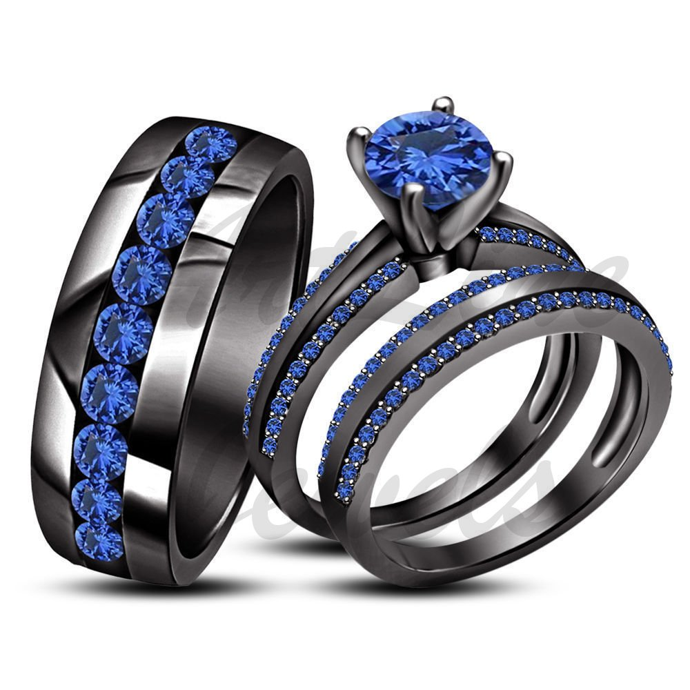 ArtLine Jewels Round Cut Blue Sapphire 18k Black Gold His Her Men's Women's Trio Wedding Ring Set