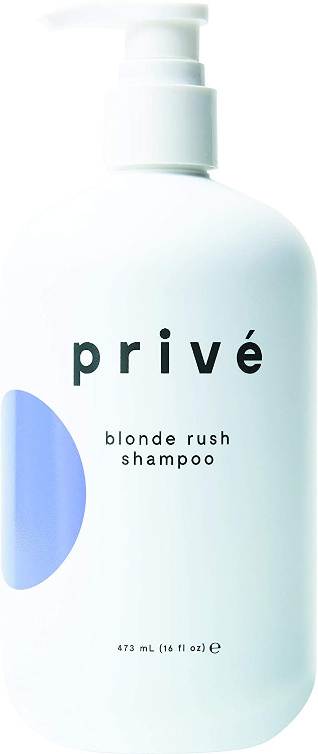 Privé Blonde Rush Shampoo – Purple Shampoo for Blonde Hair – No Yellow, Brass Off, Damage Repair, for Natural Highlighted Bleached Blondes – Smoothing Toning Blue Shampoo for Brassy Hair (16 oz)