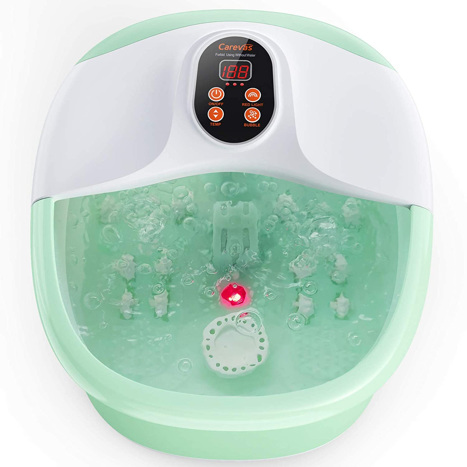 Carevas Foot Bath Massager, Heated Foot Soaker with O2 Bubbles, 14 Massaging Rollers for Tired Feet Stress Relief Home Use