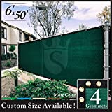 Cheap Royal Shade 6′ x 50′ Green Fence Privacy Screen Cover Windscreen, with Heavy Duty Brass Grommets, Custom Make Size