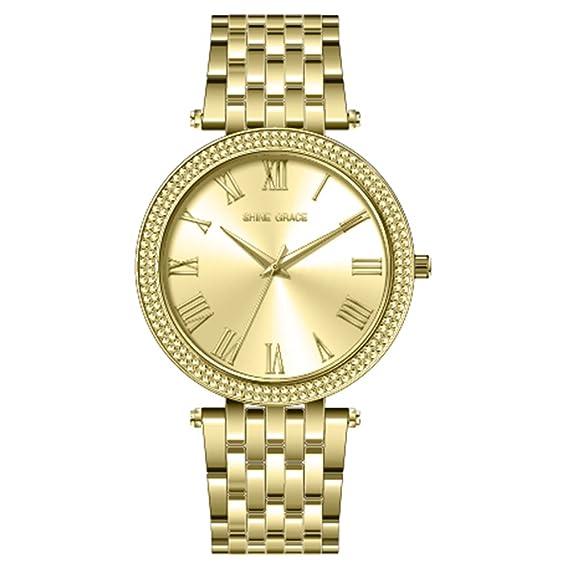 Shine Grace 39 mm para mujer reloj Números Romanos todos los vestido de Oro Reloj de