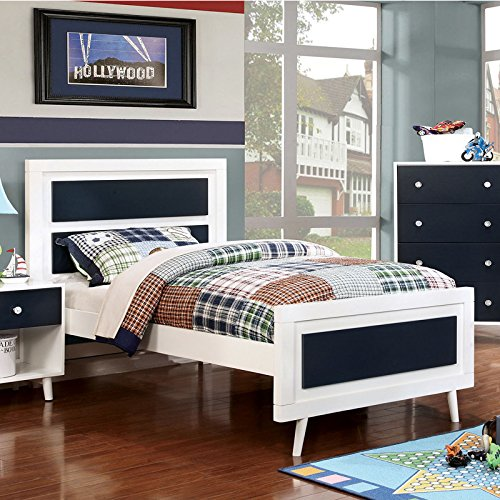 Alivia Blue & White Finish Full Size 5-Piece Bedroom Set / NO TRUNDLE by 247SHOPATHOME