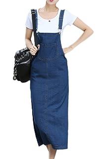 3b64cafd5e3 Vemubapis Women Denim Overall Dress Jeans Jumper Adjustable Pinafore Dresses  Skirt
