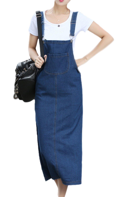Vemubapis Women Straps Slit Denim Suspender Skirt Adjustable Midi Overall Dress
