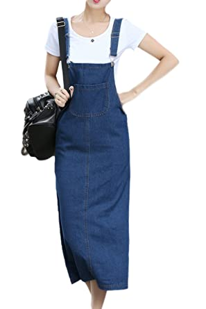 90671d30731 Vemubapis Women s Jean Skirt Adjustable Jeans Dress Girls Pinafore Dresses   Amazon.co.uk  Clothing