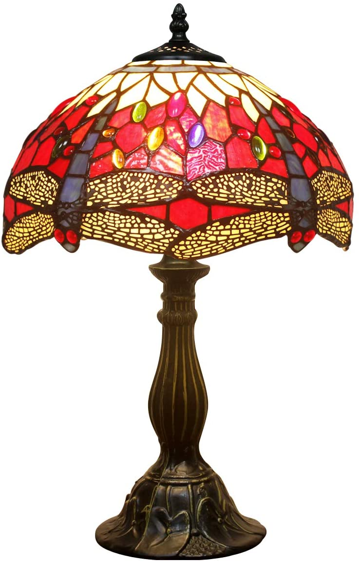 Tiffany Lamp Red Yellow Stained Glass and Crystal Bead Dragonfly Style Table Lamps Wide 12 Height 18 Inch for Coffee Table Living Room Antique Desk Beside Bedroom S328 WERFACTORY