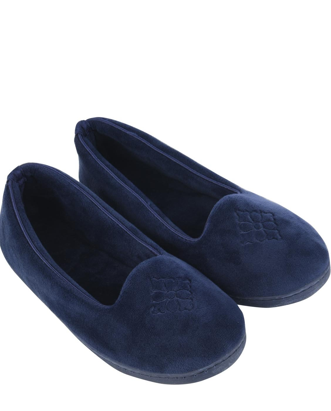 Dearfoams Plush Velour Closed-Back Women's Slipper – Padded Microfiber Slip-Ons with a Durable Outsole - 745,Peacoat,Small/5-6 M US
