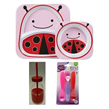 Ladybug Dinnerware Bundle with Plate and Bowl Set Spoon and Fork Set and Milk  sc 1 st  Amazon.com & Amazon.com : Ladybug Dinnerware Bundle with Plate and Bowl Set ...
