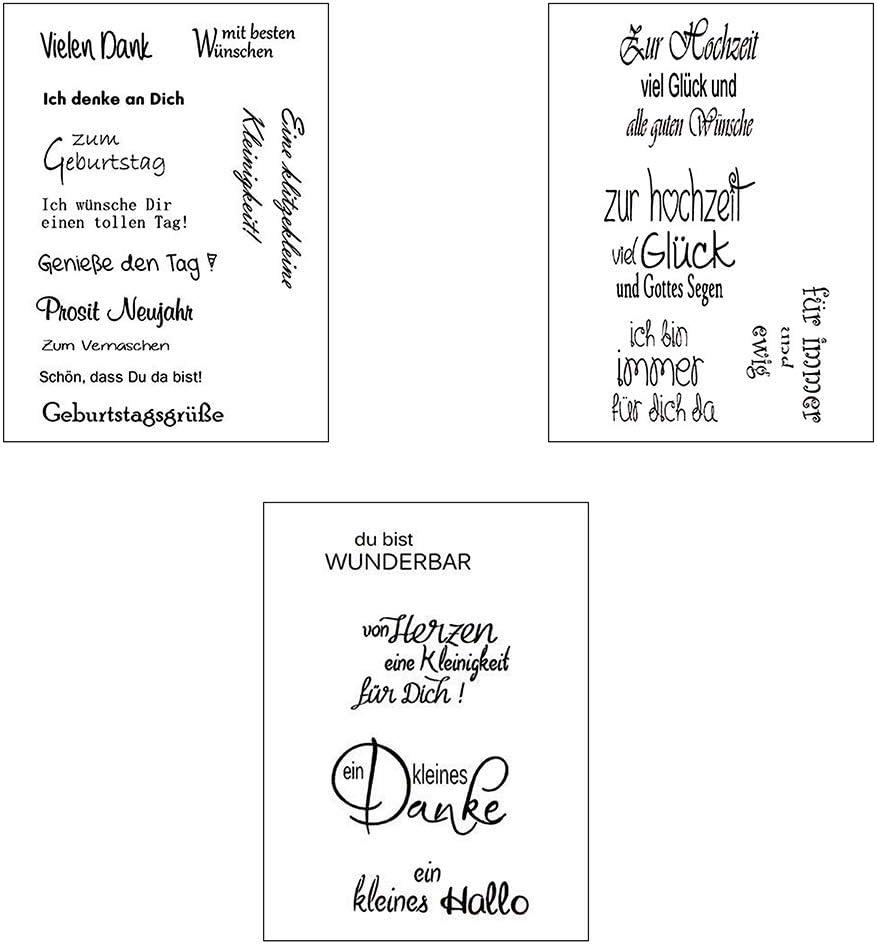 Wiederverwendbar - Silikonstempel Spr/üche Deutsch Transparente Clear-Stamps Xurgm Clear Stamp