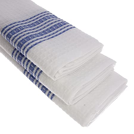 Exceptionnel 3 X 100% Cotton Waffle Piquu0026eacute; Kitchen Towels In Blue White Kitchen  Towel