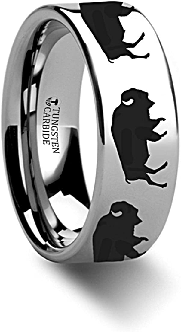 Thorsten Nature Animal Wildlife American Buffalo Bison Print Pattern Flat Polished Tungsten Ring 12mm Wide Wedding Band from Roy Rose Jewelry