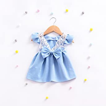 Hmeng Toddler Baby Girls Bowknot Dress Princess Outfits Clothes Fashion  Girl's Casual Solid Lace Patchwork Sleeveless Dress Comfy Cotton Sundress, 1 ~3 YS ...