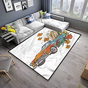 "Indoor Floor Mat Vintage Hawaii Rug for Living Room,Kids Room,Bedroom Old School Car Trip (5'7""x8'6"")"