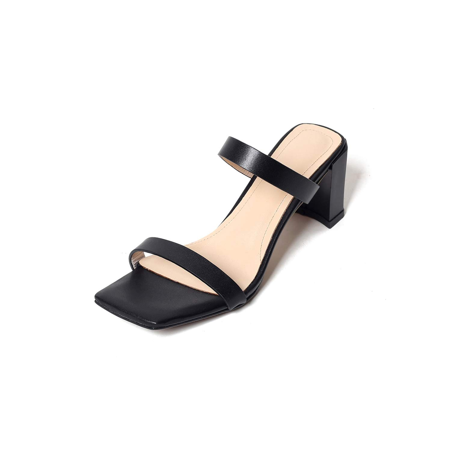 Black Fairly Thick Heels Slippers Women Summer Ladies Square Toe Mules shoes Real Leather Slides