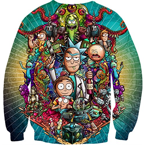 YX GIRL 3D Sweatshirts Unisex 3D Printed Rick and Morty Sweatshirts Fashion Pullover (L, Rick and Morty Sweatshirts) by YX GIRL (Image #2)