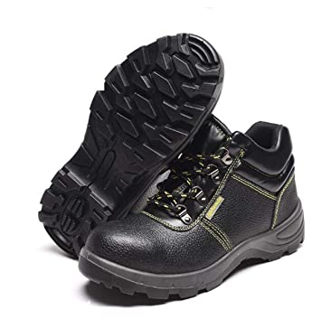 Adong Hombres Cuero Trabajo Seguridad Zapatos Transpirable Slip Prueba de Acero Puntera para policía Militar Carretera Trabajadores Soldador,Black,42EU: ...