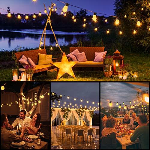 Luces de cadena para exteriores Govee de 48 pies, luces de patio remotas inastillables con 15 bombillas LED amarillas cálidas regulables, luces LED impermeables para exteriores para terraza, patio trasero, glorieta, jardín, fiesta