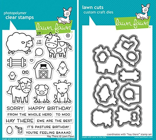 Lawn Fawn Hay There Clear Stamp and Coordinating Die Set - 2 Piece Bundle (LF1595 and LF1596) by Lawn Fawn