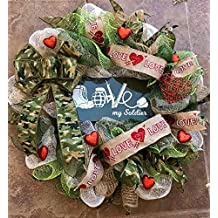 """Soldier Wreath with Custom-Made Metal Sign with """"Love"""" Spelled out in Soldier Gear (How cute is that?!), Camouflage Ribbon, Glittered Hearts"""