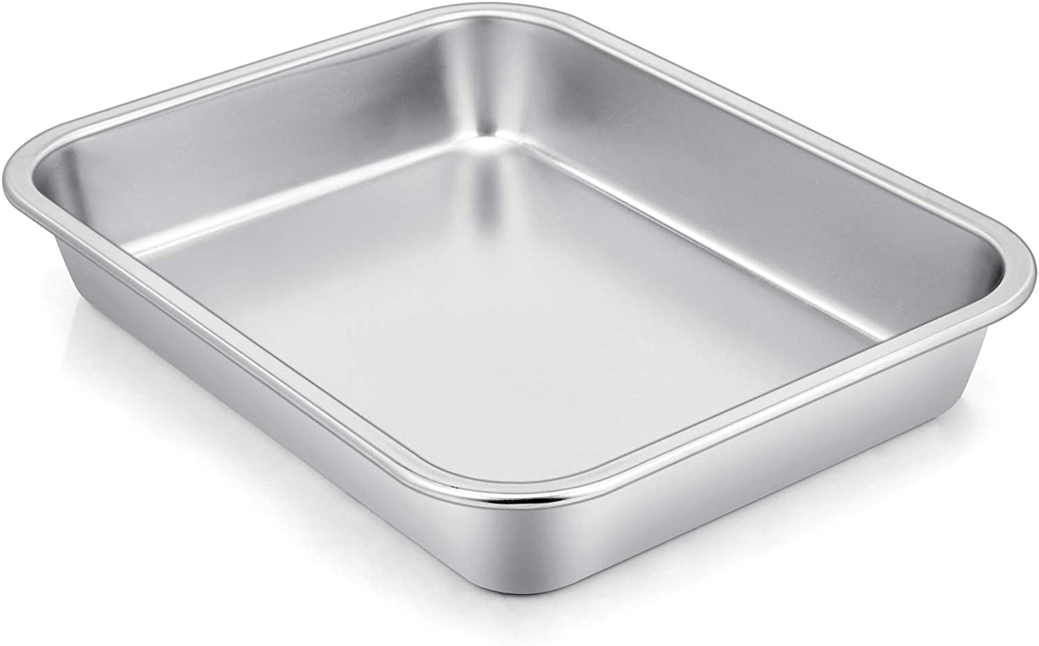 "P&P CHEF High-Sided Cookie Sheet Pan, Stainless Steel Rectangular Lasagna Pan, Size 10.6""x 8.25"" x 1.7"" Inches, Perfect for Most Toaster Oven & One Person Use, Non Toxic & Heavy Duty & Easy Clean"