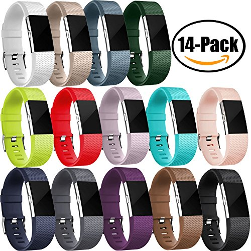 GEAK Fitbit Charge 2 Bands 14 Pack, Classic Special Edition Sports Replacement Bands for Fitbit Charge 2, Large and Small