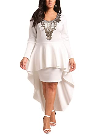 Deb Shops Debshops Womens Plus Size Embroidered Peplum Waterfall Hi ...