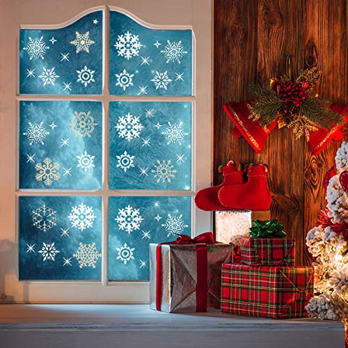 Home Kitty 120 PCS Christmas Snowflake Window Clings Decal Wall Stickers - Xmas/Winter Wonderland Decorations Ornaments Party Supplies -Gold and Sliver Color (4 Sheets) ()