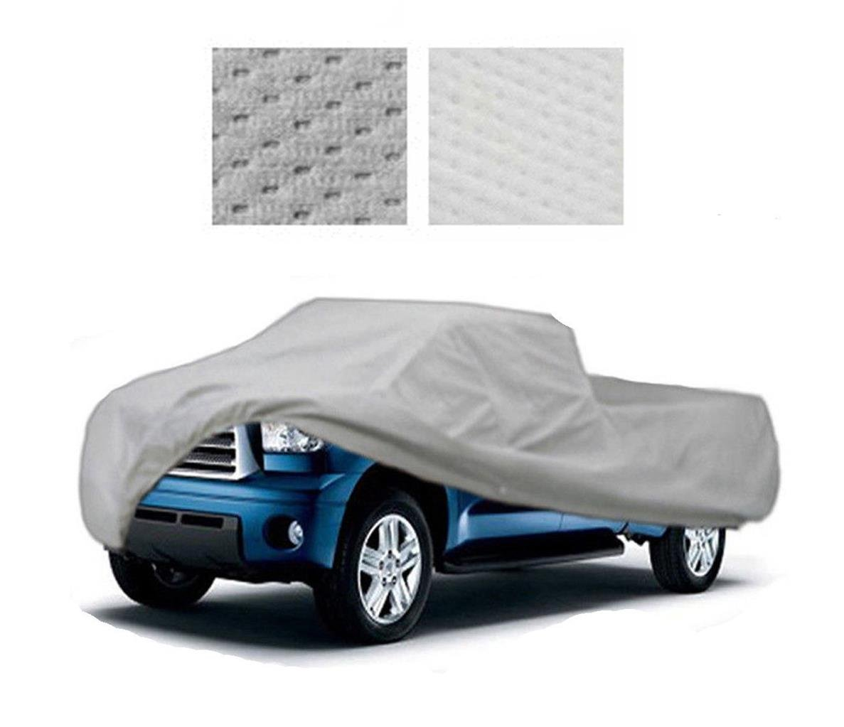 5 Layer Heavy-Duty Fleece Lined Truck Car Cover up to 16L x 65W x 58H and is for Mini Pick Up Truck with a Regular Cab and Regular Bed.
