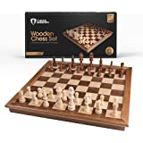 """Chess Armory Chess Set 17"""" x 17"""" with Raised Border Frame - Inlaid Walnut Wooden Chess Set with Folding Chess Board, Staunton"""
