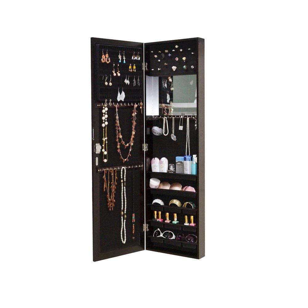 Organizedlife Brown Mirror Jewelry Cabinet Hanging Storage Armoire Organizer Box Wall Mount