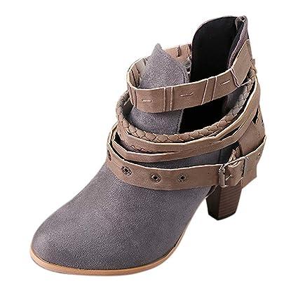 Qiusa Botines Cortos para Mujer Botines de Cuero para Caballero Botas Martin Zapatos Bota (Color