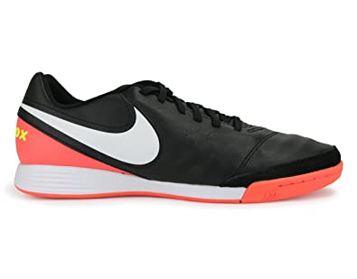 51b121cf45d Nike Mens TiempoX Genio II Indoor Shoes Black White Hyper Orange Volt Soccer