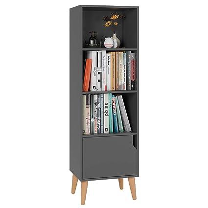 Homfa 4 Tier Floor Cabinet, Free Standing Wooden Display Bookshelf with 4 Legs and 1 Door, Side Corner Storage Cabinet Decor Furniture for Home ...