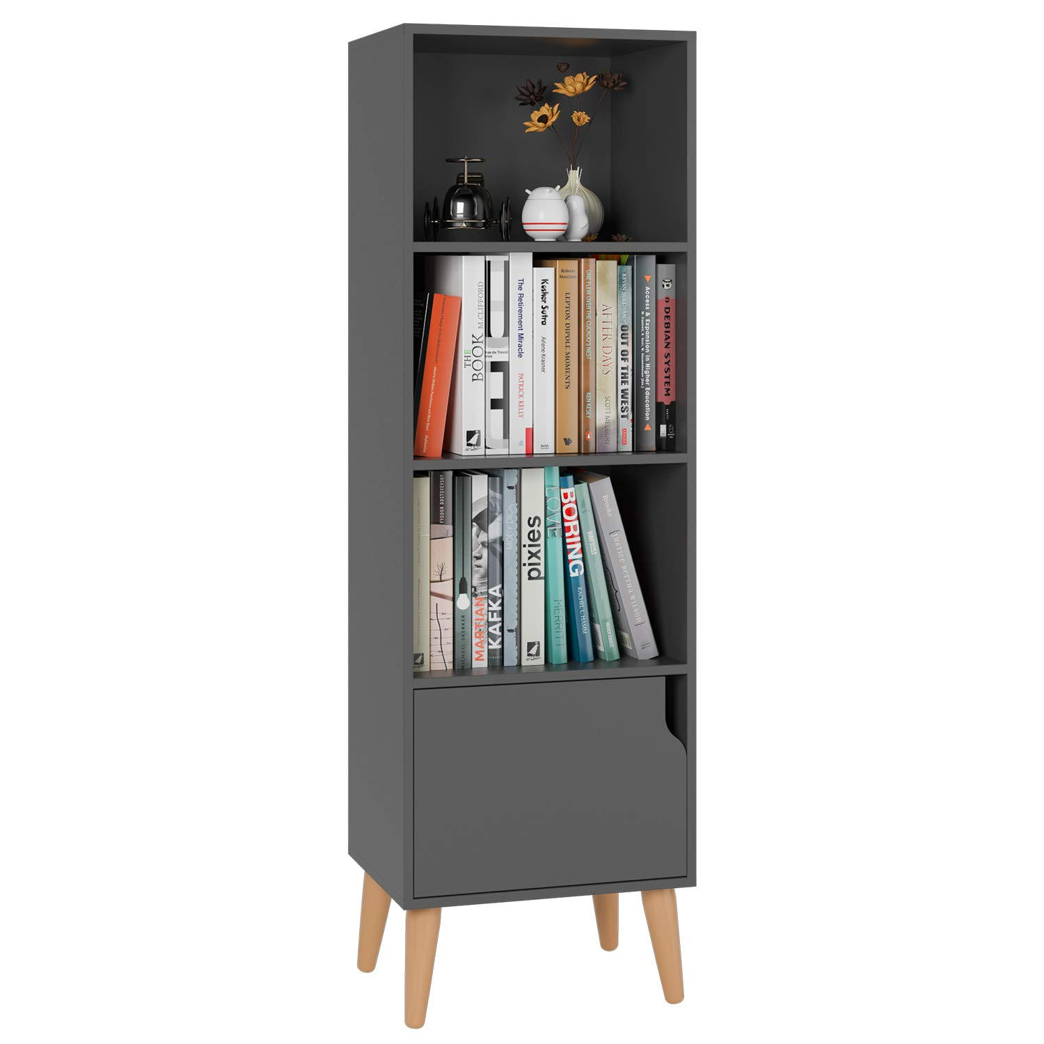 Homfa 4 Tier Floor Cabinet, Free Standing Wooden Display Bookshelf with 4 Legs and 1 Door, Side Corner Storage Cabinet Decor Furniture for Home Office, Gray by Homfa (Image #1)