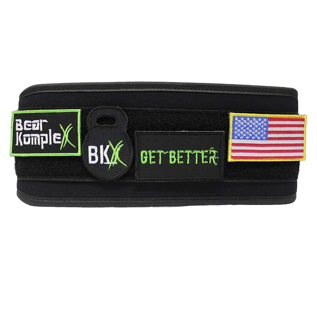 Bear KompleX 4'' Straight Weighlifting Belt for Powerlifting, Squats, Crossfit, Weight Training and More. Low Profile with Super Firm Back for Comfort (Black Patch Belt XSmall)